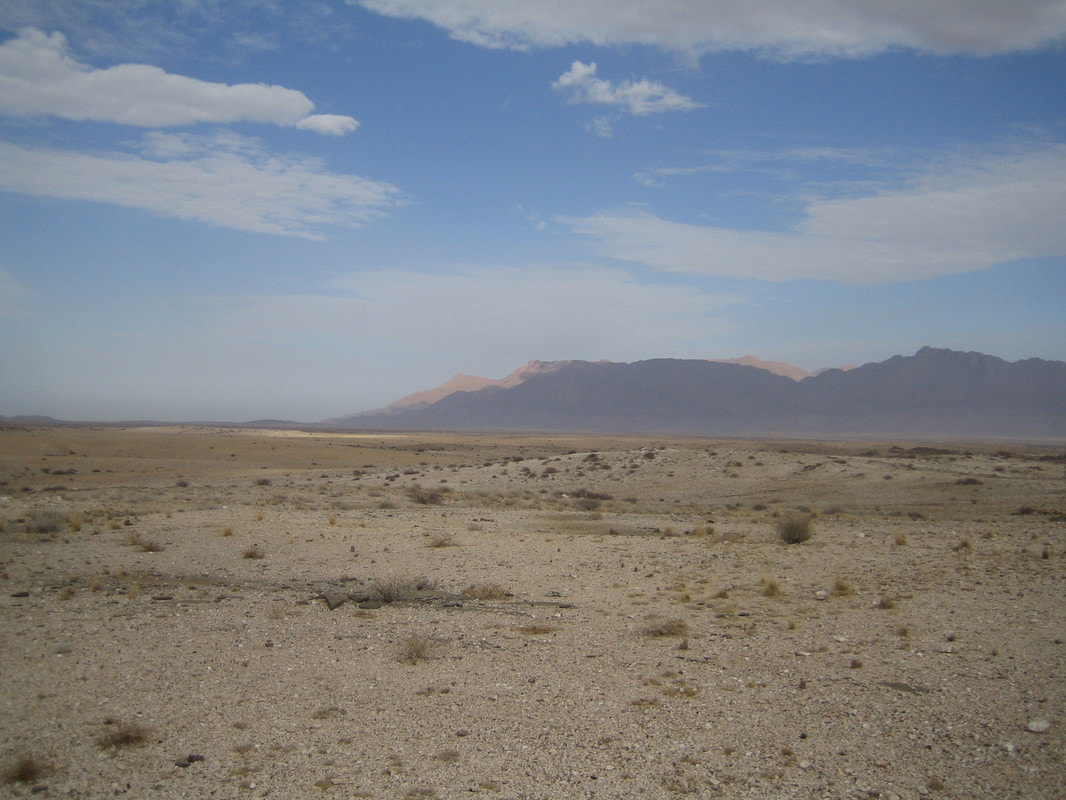 Desert landscape with BRANDBERG (highest mountain of Namib desert) in back.